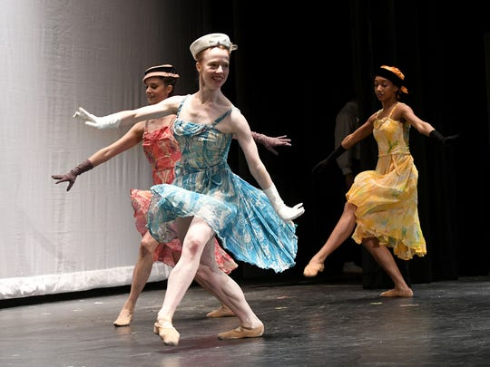 """Brianna Habel, Anna Trumbo and Kassandra Lee of Neos Dance Theatre perform a scene from """"The Nutcracker"""" on Monday."""