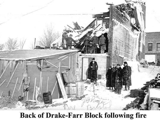 Back of the Drake-Farr Block after the 1914 fire.