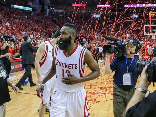 Houston Rockets guard James Harden (13) after game