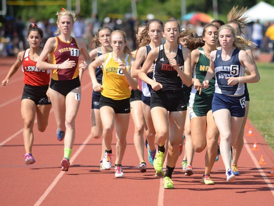 Girls 1600-meter event during the NJSIAA Track and