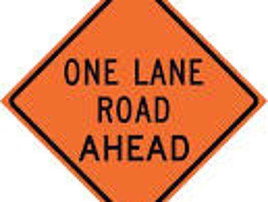 one-lane sign