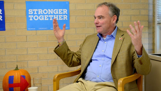 Vice presidential candidate Tim Kaine gestures during an interview with the Citizen-Times at UNC Asheville before an early voting rally Wednesday.