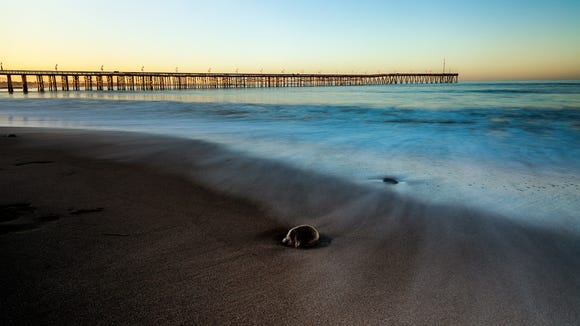 Blurred surf at Ventura Pier at sunrise.