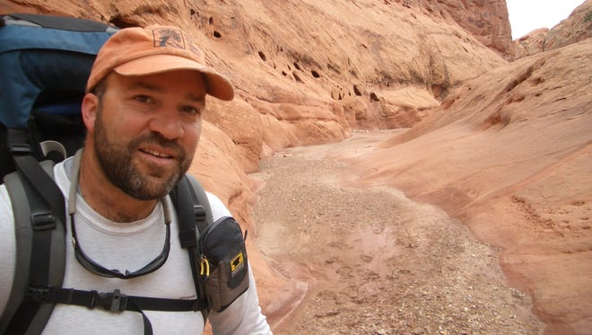 Mike Coronella in Capitol Reef National Park, from the third time hiking between Arches and Zion national parks in 2005.