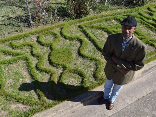 "Arthur Brown has been creating patterns in his yard for 15 years. The idea to create patterns came to him while he was working in his yard. ""Something told me to get the weed eater and I started cutting different patterns,"" said Brown."