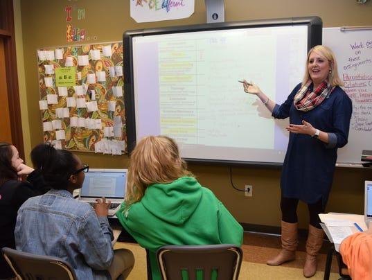 Sarah Butler, a  teacher at Caroline Dormon Junior High in Woodworth, was chosen as the Middle School Teacher of the Year.