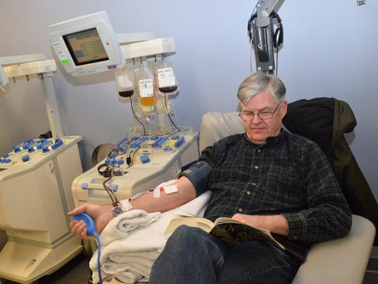 Steve Rogge donates platelets Wednesday at the LifeShare Blood Center located at 2051 North Mall Drive in Alexandria. Rogge is a regular donor at the center which is currently experiencing a shortage of blood donations due to canceling blood drives because of the weather and the flu epidemic.