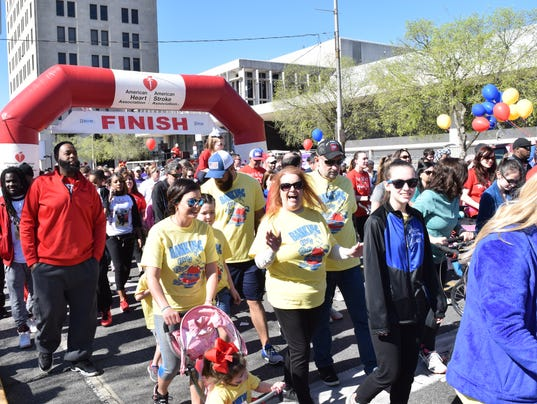 """The 12 annual Central Louisiana Heart Walk was held Saturday, March 3, 2018 in downtown Alexandria. Over 4,000 participated in the event.  """"One in every three individuals in Central Louisiana are affected by heart disease or stroke,"""" said Natalie David, senior regional director of the North Louisiana American Heart Association. """"So it's really important to not only spread the message and be proactive in terms of heart health and how to prevent heart disease, but just kind of passing that message down to the families and getting the kids out and moving."""""""
