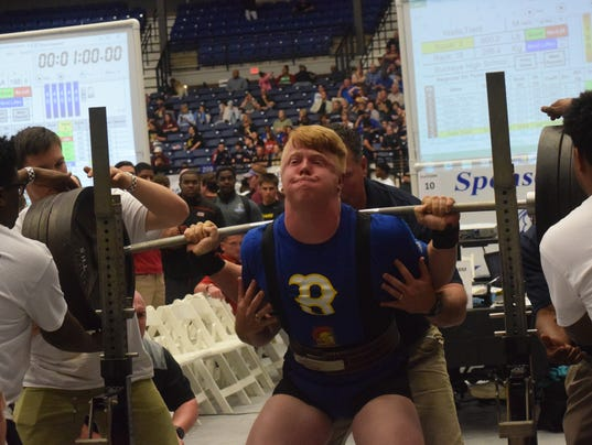 Trent Wells of Buckeye High School set a state record after squatting 660 pounds in Division IV (Class 4A) in the the 2018 LHSAA/LHSPLA Division I-V Powerlifting Meet held at the Rapides Parish Coliseum Friday, March 16, 2018. Classes 1A and 2A competed Wednesday and Thursday. Divisions III and II (Classes 3A and 4A) competed Thursday and Friday. Division I (Class 5A) will compete Friday and Saturday.