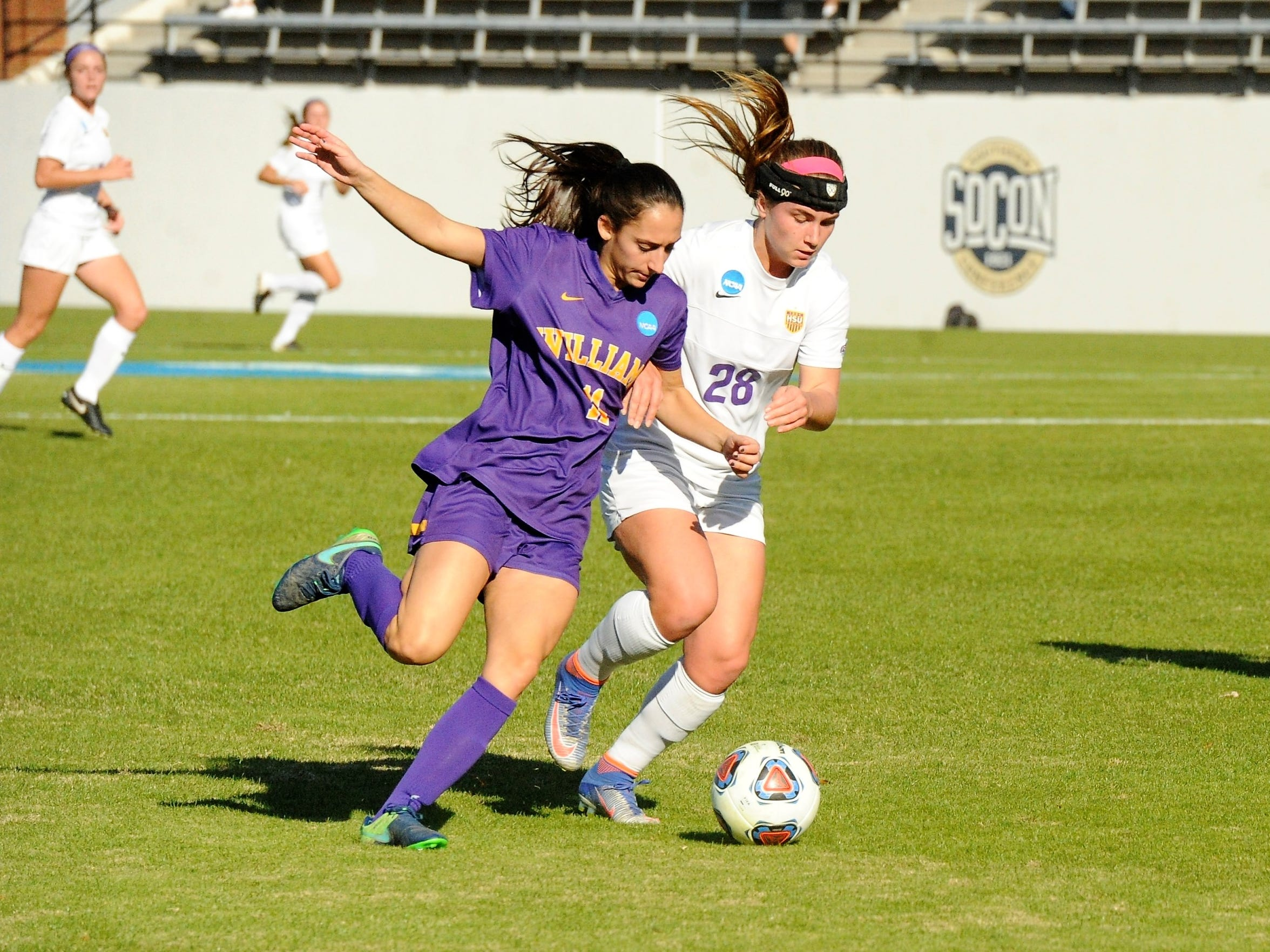 Hardin-Simmons forward Kenne Kessler, right, battles with Williams' Sarah Scire during the 2017 NCAA Division III Final Four appearance. Kessler left the Cowgirls as the program's all-time leading goal scorer.
