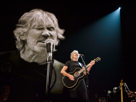 Roger Waters performs 'Deja Vu', one of the songs from his new album 'Is This the Life We Really Want?'. Waters, 73, and his band performed Pink Floyd classics and songs from the new studio Album during their Us + Them 2017 tour stop at The Palace of Auburn Hills on Wednesday, August 2, 2017.