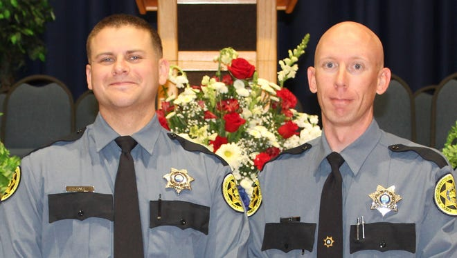 Mark Rose, left, and Jeremy Vick recently graduated from Walters State Regional Law Enforcement Academy and joined the Montgomery County Sheriff's Office.