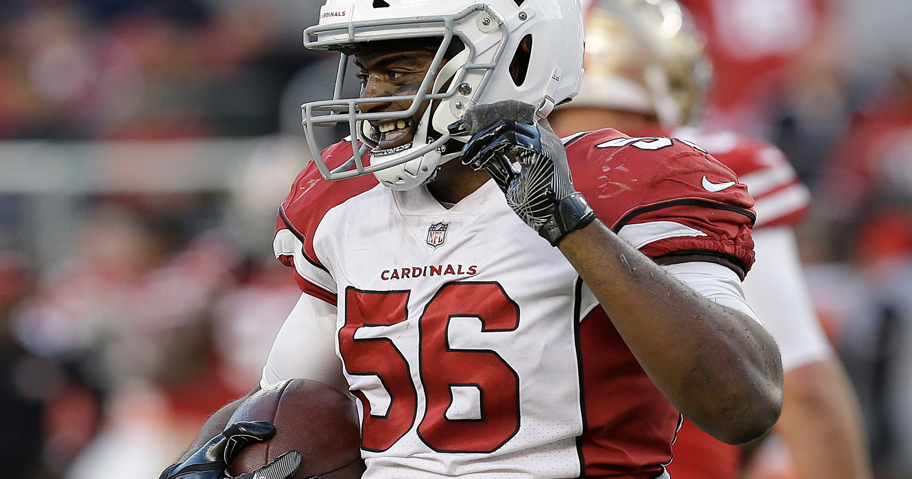 9a8308964 Arizona Cardinals LB Karlos Dansby becomes  a legend  with 20th INT