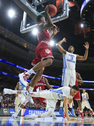 Indiana's Troy Williams looks to pass in the Hoosiers' 101-86 loss at the East Regional Friday night at the Wells Fargo Center in Philadelphia.