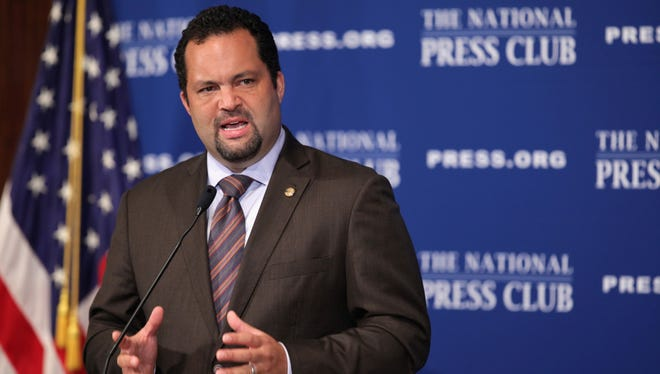 President and CEO of the NAACP Benjamin Jealous speaks during a National Press Club luncheon Aug. 29 in Washington.
