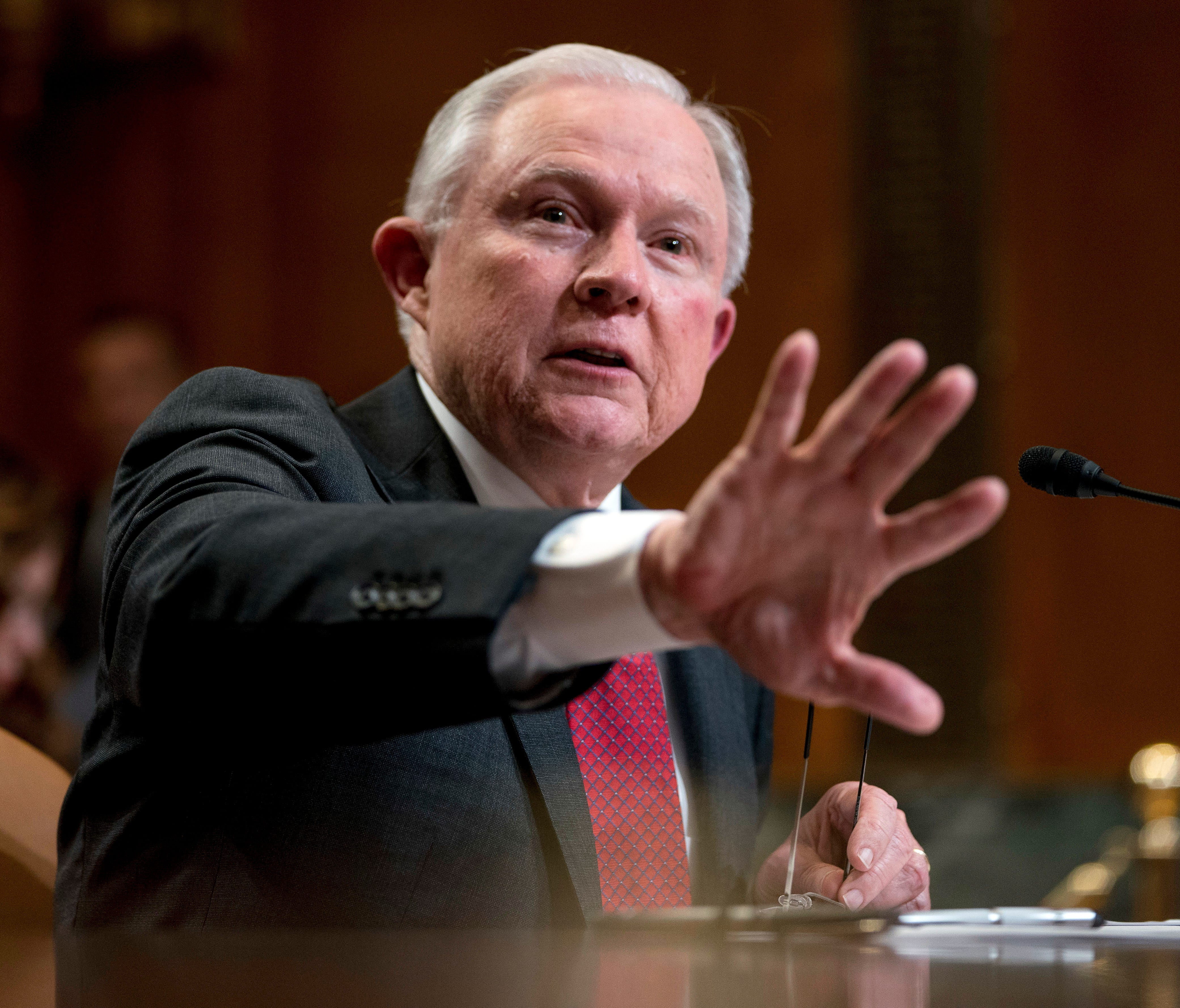 Attorney General Jeff Sessions speaks on Capitol Hill in Washington, April 25, 2018.