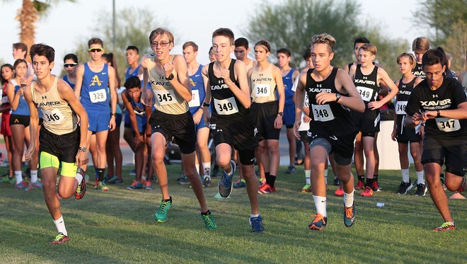 Runners take off at a cross country meet this year.