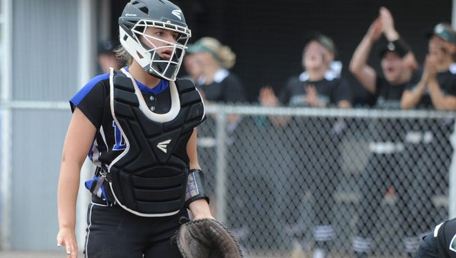 Hammonton catcher Emily Komis reacts as a Steinert runner scores during Thursday's Group 3 state semifinal softball game at Stockton University.