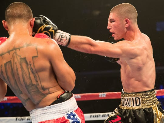 David Kaminsk vs Rafael Munoz in a super welterweight fight during the Top Ranks boxing card at the American Bank Center on Saturday, Feb. 3, 2018.