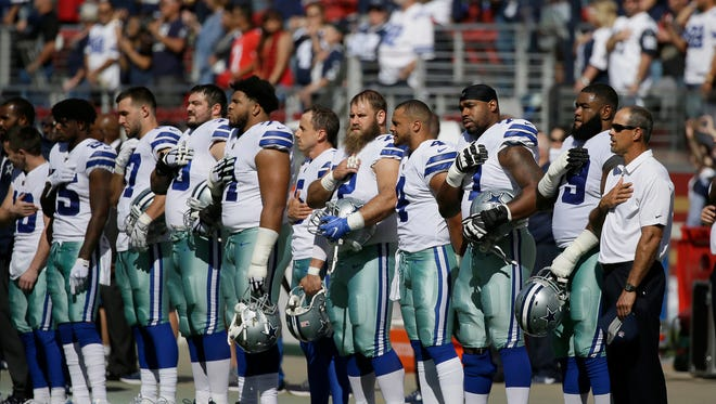 Dallas Cowboys players stand during the performance of the national anthem before an NFL football game against the San Francisco 49ers in Santa Clara, Calif., Sunday, Oct. 22, 2017. (AP Photo/Eric Risberg)