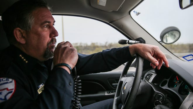 Police Chief Frank Carter makes it a point to go out on patrol regularly to stay connected with SAPD's patrol officers and residents.
