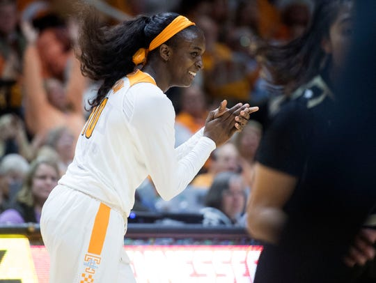 Tennessee's Meme Jackson celebrates after scoring 3-points
