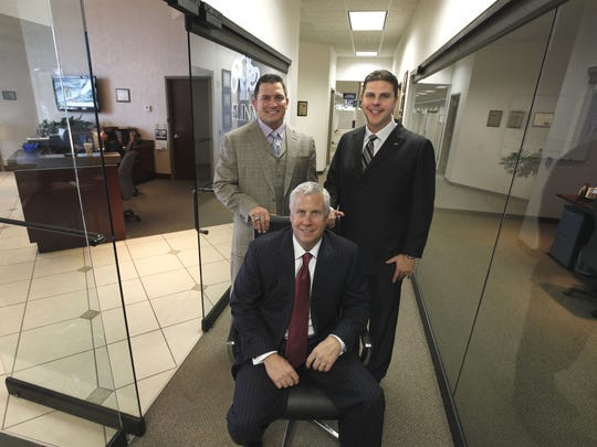 The men accused of money laundering in the 5LINX case include, left, Jason Guck, Craig Jerabeck and Jeb Tyler.