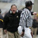 Iowa head coach Kirk Ferentz yells at a referee during the 1st quarter Saturday November 11,2006 at Kinnick Stadium, in Iowa City, Iowa.  Iowa lost 24-21.