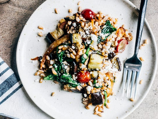 Eggplant and Caramelized Onion Grain Salad is hearty