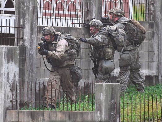U.S. soldiers participate in a South Korea-US combined