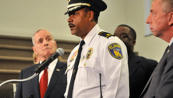 St. Cloud Police Chief Blair Anderson addressed about 50 people gathered for a news conference with Gov. Mark Dayton, left, and city leaders including Mayor Dave Kleis, right, on Sept. 19, 2016 at City Hall.