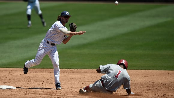 Jay Estes (25). Auburn baseball vs Alabama on Saturday,