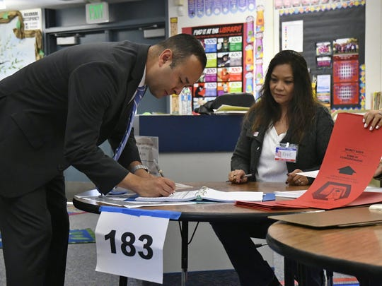 Congressional candidate Andrew Janz cast his ballot during California's 2018 Primary Election on Tuesday, June 5.
