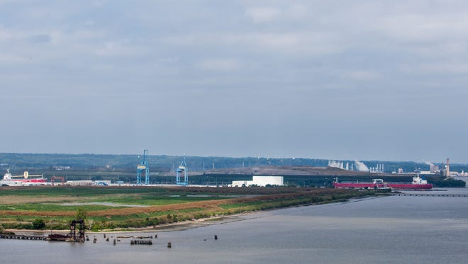 The Port of Wilmington can be seen from the top of the southbound span of the Delaware Memorial Bridge on Friday afternoon, September 19, 2014.