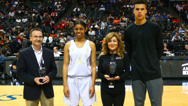 Tennessee Lady Vols signee Evina Westbrook and Missouri signee Michael Porter are recognized Friday as national players of the year at the Jordan Brand Classic in Brooklyn, N.Y.