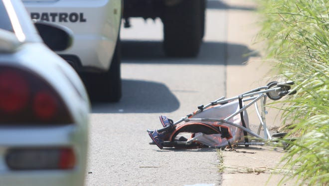 A woman was hit by a Mitsubishi Eclipse on Dover Road on Monday afternoon.