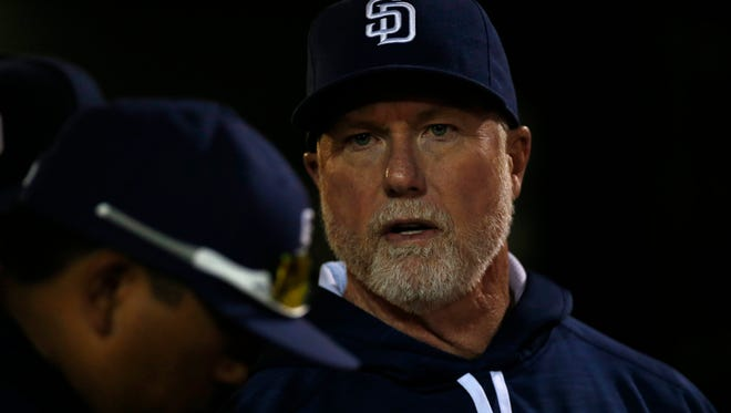 """""""I felt like I was back in the batter's box,"""" Mark McGwire said of his first stint as a big league manager, after Padres skipper Andy Green was ejected last week."""