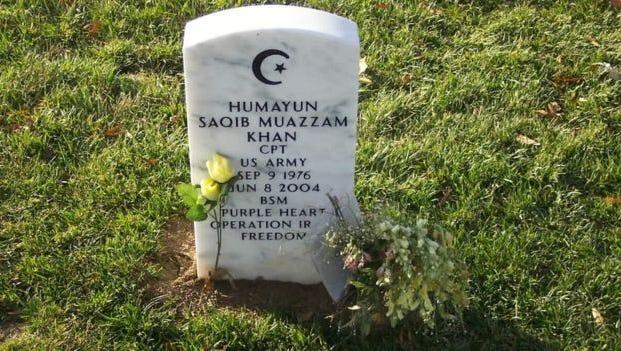 The grave of Capt. Humayun Khan at Arlington National Cemetery.