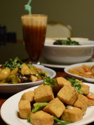 The salt and pepper crispy tofu dish, foreground, at the Fortune Cookie Thai and Taiwan Cuisine restaurant in Harmon on May 27.