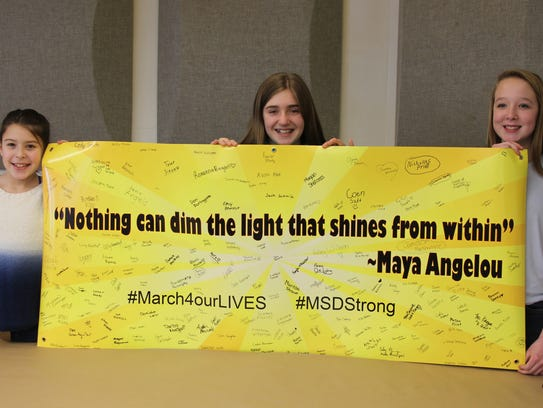 Students at Windsor Middle School signed a banner during
