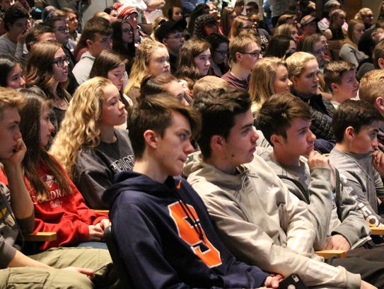 Windsor High School students attend an assembly to
