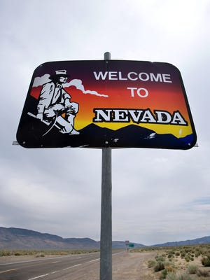 The Nevada sign welcomes visitors to the Silver State.