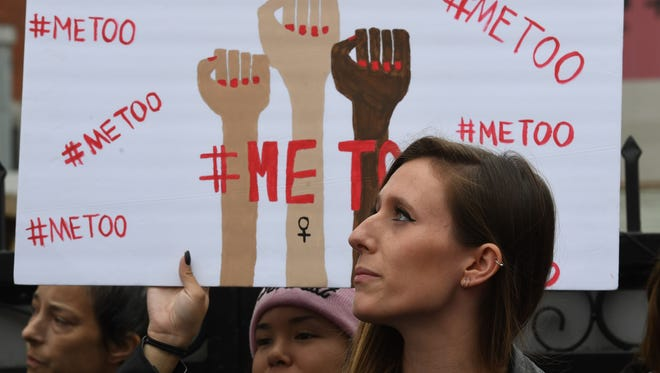 Attendees of a #MeToo march in Hollywood, California on November 12, 2017.