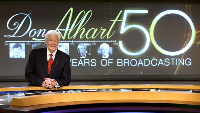 Rochester television  icon Don Alhart on the set at Channel 13 is celebrating 50 years of broadcasting.
