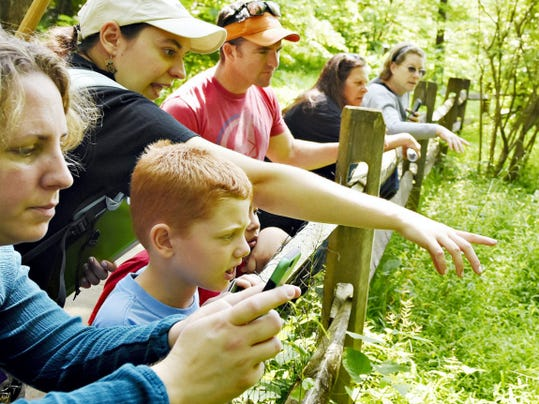 Naturalist Kelsey Frey leads a nature trek on a search for reptiles earlier this month at Nixon County Park. Work will begin next month to create a wetlands area that will expand the park's educational options.