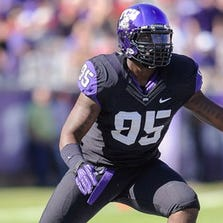 Oct 20, 2012; Fort Worth, TX, USA; TCU Horned Frogs defensive end Devonte Fields (95) defends against the Texas Tech Red Raiders offense during the game at Amon G. Carter Stadium. The Red Raiders defeated the Horned Frogs 56-53 in overtime. Mandatory Credit: Jerome Miron-USA TODAY Sports