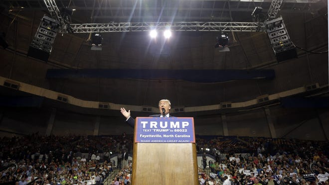 Republican presidential candidate Donald Trump speaks during a campaign rally in Fayetteville, N.C. March 9.