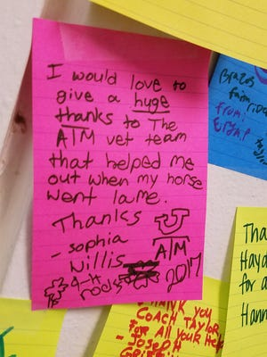 "A note on the ""Attitude of Gratitude Wall' at the 4-H Horse Show at the Taylor County Expo Center, detailing the writer's thanks for the group of Texas A&M veterinary students providing help at the show."