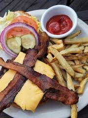 A burger from the hickory grill at Rafferty's, with