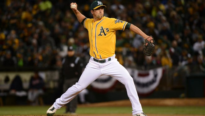 The Oakland A's acquired reliever Luke Gregerson from San Diego in the offseason in exchange for outfielder Seth Smith.